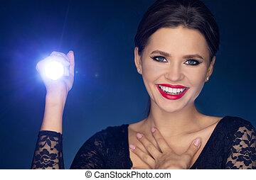 brilho, lanterna, quando, rir, menina, seu