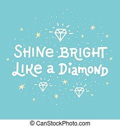 brilho, lettering, diamante, semelhante, azul, quote., experiência., luminoso, inspiração