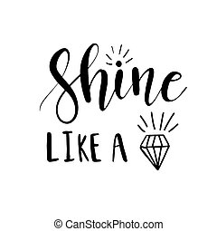 brilho, lettering, diamante, semelhante