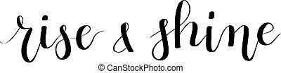 brilho, lettering, levantar, hand-drawn, vetorial, caligrafia