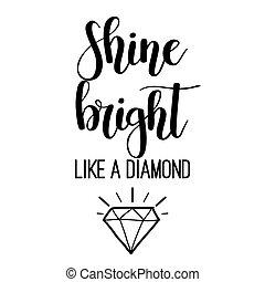 brilho, lettering, luminoso, diamante, semelhante