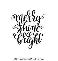 brilho, lettering, positivo, -, mão, luminoso, feliz, citação, natal