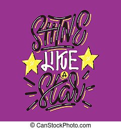 brilho, lettering, star., impressão, semelhante
