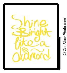 brilho, luminoso, diamante, desenho, semelhante