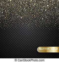 brilho, ouro, brilhar, vetorial, partículas, efeito, fundo, transparente, luz
