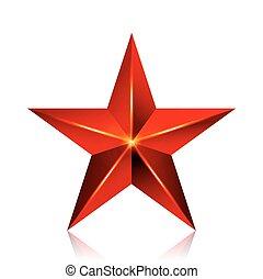 brilho, sinal, estrela, Símbolo, isolado, decoração, fundo, vetorial, vermelho, branca,  3D, realização, ícone