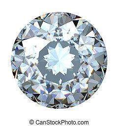 briljant, knippen, diamant, ronde