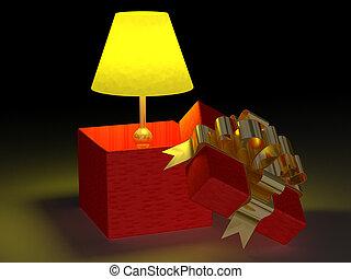 brillado, lámpara, en, un, regalo, box., 3d, imagen