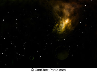 brillado, nebulosa, ser, estrella, interpretación, field., 3d