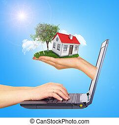 brillamment, écran soleil, laptop., toit, main, cabane, arrière-plan rouge, blanc, shines, cheminée, gauche