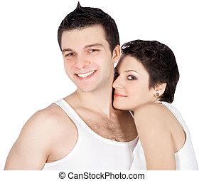 brillamment, amour, image, couple, jeune, sourire