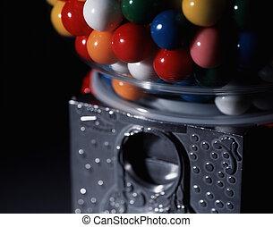 brillamment, balle, coloré, macro, gommer machine, gumballs., rempli