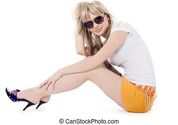brillamment, blond, blanc, lunettes soleil, image, sur, agréable