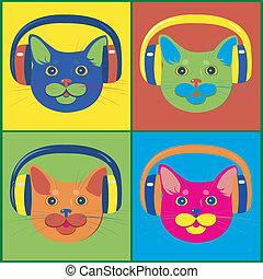 brillamment, chats, musique, coloré