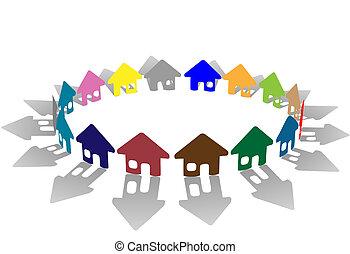 brillamment coloré, coloré, maison, symboles, anneau, blanc