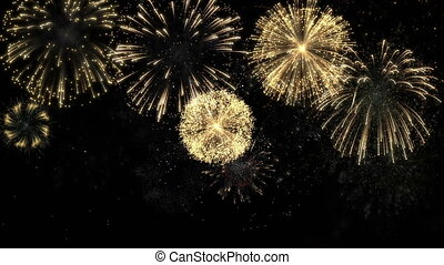 brillamment, coloré, feux artifice, noir, evénements, célébration