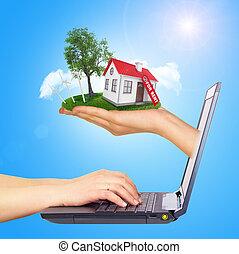 brillamment, droit, écran soleil, laptop., toit, main, cabane, arrière-plan rouge, blanc, shines, cheminée