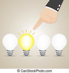 brillamment, idée, choisir, ampoule, homme affaires, dessin animé