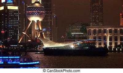 brillamment, shanghai, pudong, lit, bateau, dépassement