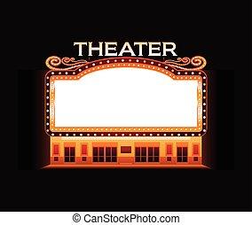 brillamment, théâtre, cinéma, signe néon, incandescent, retro