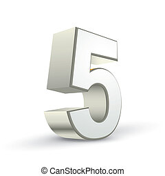 brillant, 3d, 5, nombre, argent