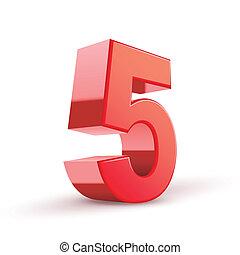 brillant, 5, nombre, rouges, 3d