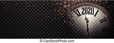 brillant, année, bannière, nouveau, clock., 2020, noir