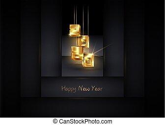 brillant, année, nouveau, pendre, 3d, or, vecteur, bannière, noël, isolé, arrière-plan doré, géométrique, noir, luxe, nombres, heureux, 2020, 2020