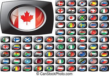 brillant, bouton, drapeaux, à, noir, cadre, collection, -, vecteur, illustration., isolé, résumé, objet, contre, blanc, arrière-plan.