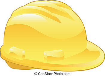 brillant, chapeau dur, jaune, illustration