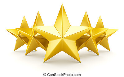 brillant, -, cinq, étoile, doré, étoiles, classement