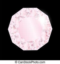 brillant, diamond., rose, vecteur