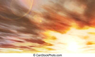 brillant, faire boucle, nuages, coucher soleil, (1041)