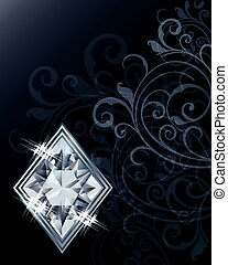 brillant, feuerhaken, karte, diamanten