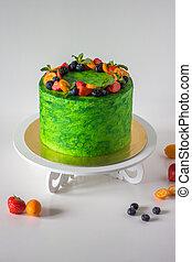 brillant, gâteau, vert
