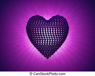 Brillant lover heart made with blue pearls