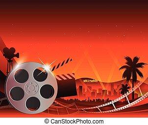 brillant, illustration, raie, fond, bobine film, pellicule, rouges