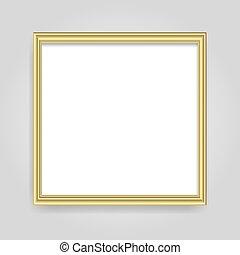 brillant, incandescent, isolé, doré, cadre