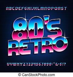brillant, métallique, lettres, style, font., 80s, numbers., effet, alphabet, retro