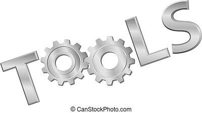 brillant, mot, engrenage, outils, icône, technologie, métal