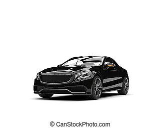 brillant, noir, moderne, luxe, voiture convertible, -, beauté, coup