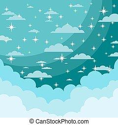 brillant, nuit, nuages, étoiles, ciel