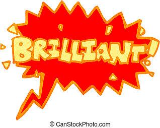brillant, schreien, buch, retro, komiker, karikatur