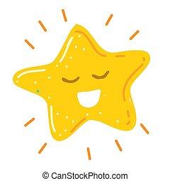 brillant, sourire heureux, vecteur, illustration, peu, étoile
