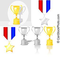 brillant, trophée, récompense, médaille