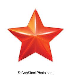brillant, vecteur, star., cinq-pointu, rouges