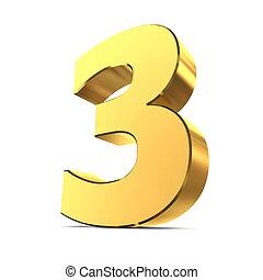 brillante, 3, -, número, oro