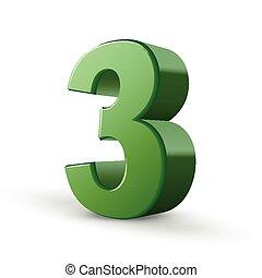 brillante, 3, verde, número, 3d