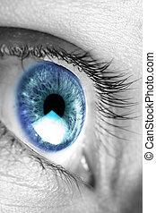 brillante azul, ojo, primer plano