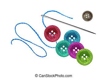 brillante, botones, hilo, aguja, aislado, costura, blanco